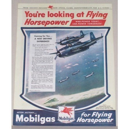 1945 Mobil Gas Flying Horsepower Vintage Color Print Wartime WWII Ad