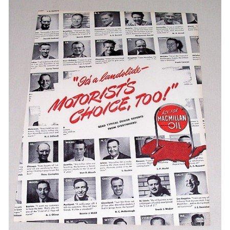 1946 MacMillan Oil Vintage Color Print Ad - It's A Landslide