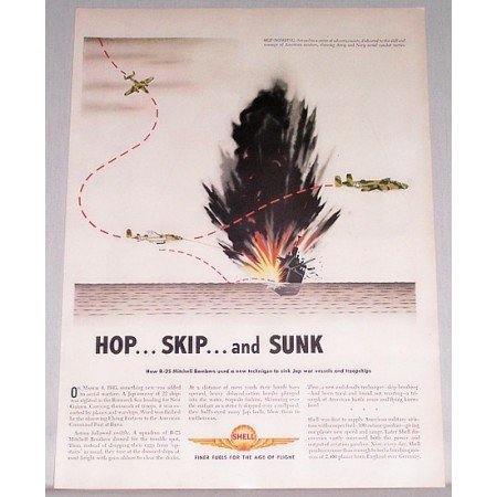 1943 Shell Oil Color Wartime B-25 Mitchell Bombers Art Vintage Color Print Ad
