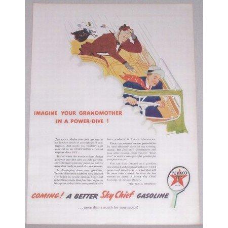 1944 Texaco Sky Chief Gas Oil Vintage Color Print Art Ad - Powerdive