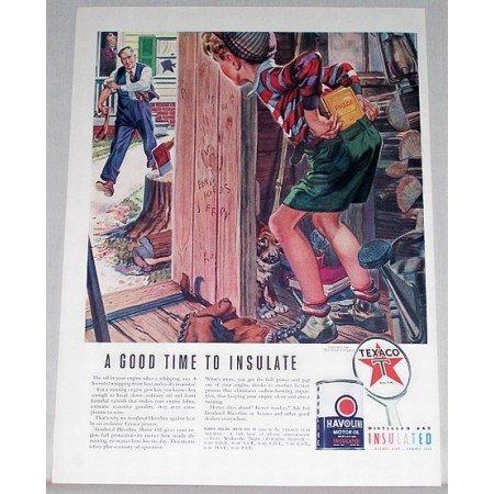 1940 Texaco Havoline Motor Oil Boy Woodshed Art Vintage Color Print Ad