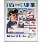 1948 Mobil Oil Artic Oil Cans Station Vintage Color Print Art Ad