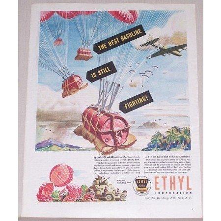 1945 Ethyl Corp. Color Wartime Art Vintage Color Print Ad - The Best Gasoline