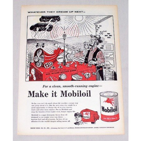 1956 Mobil Oil Vintage Color Print Art Ad - Wee Wizard Weather Maker