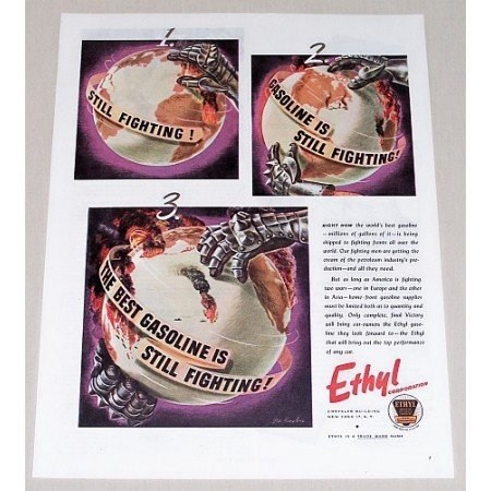 1945 Ethyl Corporation Globe Vintage Color Print Art Ad - Still Fighting!
