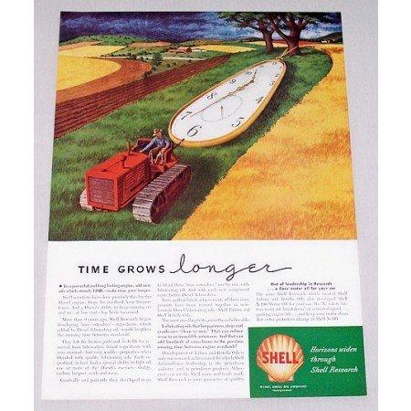 1947 Shell Oil Company Track Tractor Farm Art Vintage Color Print Ad