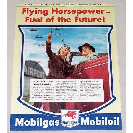 1944 Mobil Gas Oil Aviation Airport Wartime Vintage Color Print Ad