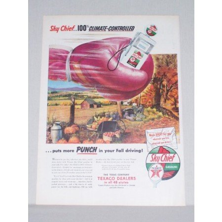 1953 Texaco Sky Chief Gas Pump Boxing Art Vintage Color Print Ad