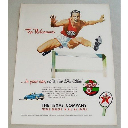 1948 Texaco Sky Chief Gas Track and Field Hurdles Art Vintage Color Print Ad