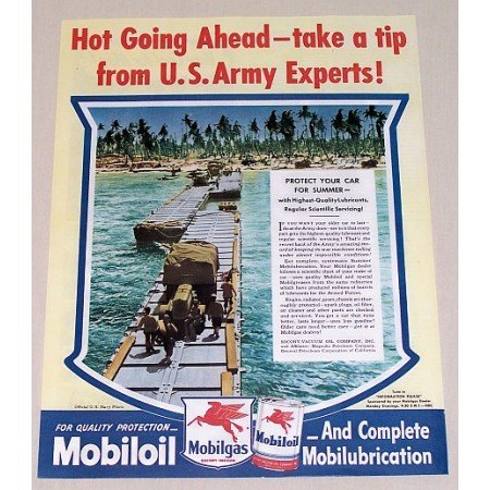 1945 Mobil Oil Color Navy Portable Bridge Wartime Vintage Color Print Ad
