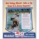 1945 Mobil Oil Color Navy Portable Bridge Wartime Vintage Color Print Ad