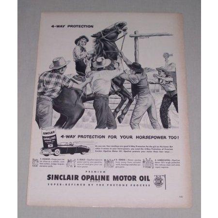 1949 Sinclair Opaline Motor Oil Western Cowboy Art Vintage Print Ad