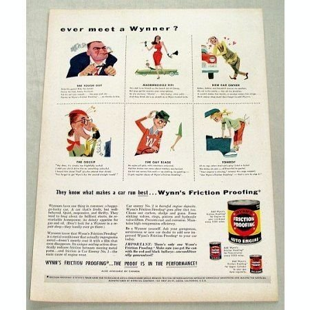 1956 Wynn's Friction Proofing Auto Engine Additive Vintage Color Print Ad