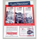 1949 Prestone Anti-Freeze Vintage Color Print Ad - Safety's A Must