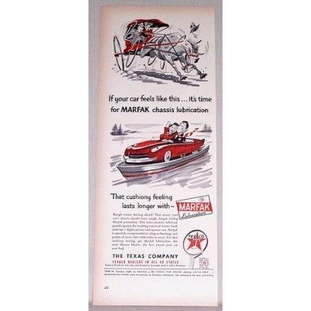1948 Texaco Marfak Lubrication Vintage Color Print Ad