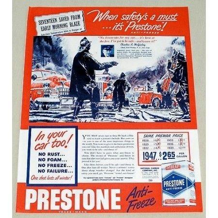 1947 Prestone Anti-Freeze Firefighter Art Vintage Color Print Ad