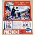 1947 Prestone Anti-Freeze Firefighter Art Vintage Color Print Ad