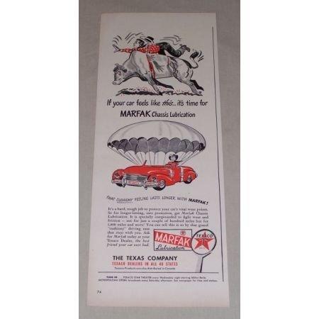 1949 Texaco Marfax Lubrication Bull Cowboy Art Vintage Color Print Ad