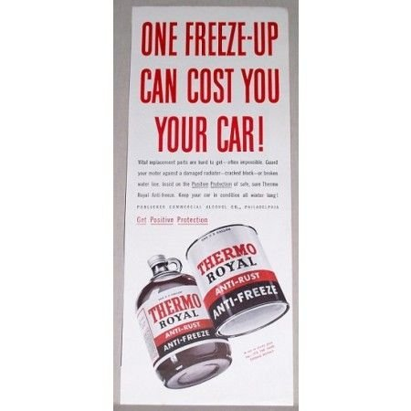 1942 Thermo Royal Anti-Rust Anti-Freeze Vintage Color Print Ad