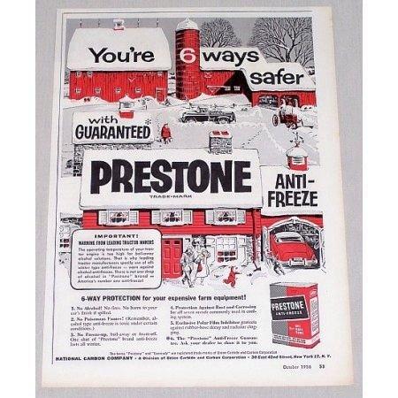 1956 Prestone Anti-Freeze Red Barn Farm Winter Art Vintage Color Print Ad