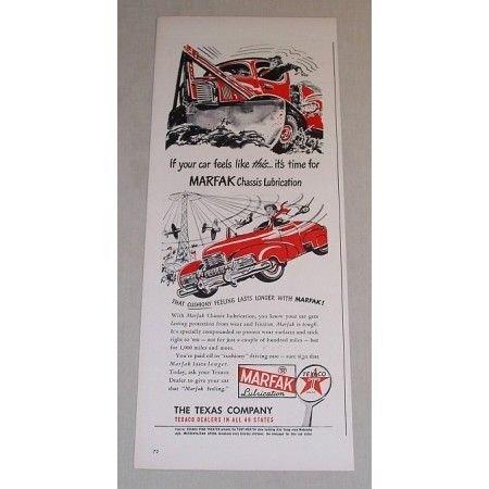 1948 Texaco Marfax Chassis Lubrication Vintage Color Print Ad