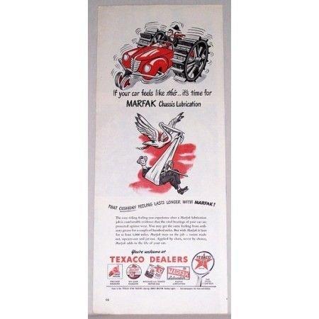 1948 Texaco Dealers Marfak Chassis Lube Vintage Color Print Art Ad