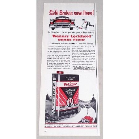 1956 Wagner Lockheed 21B Brake Fluid Vintage Color Print Ad