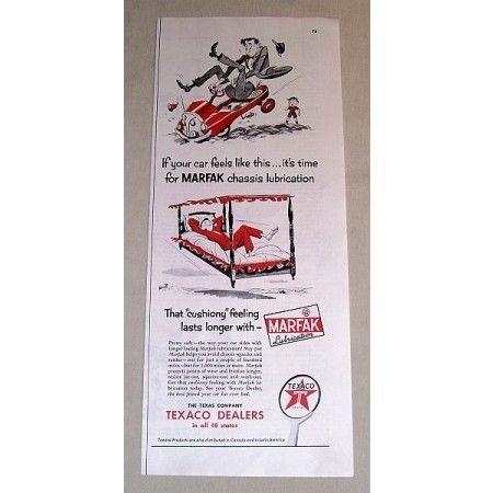 1954 Texaco Dealers Marfax Lubrication Vintage Color Print Art Ad