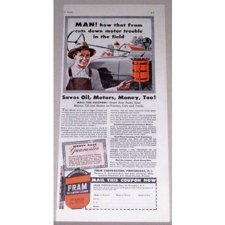 1942 Fram Oil Filters Vintage Color Print Ad