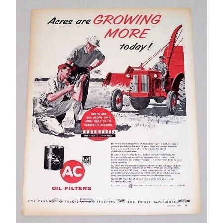 1957 AC Oil Filters Farming Tractor Art Vintage Color Print Ad
