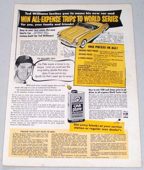 1951 Car Plate Auto Wax Vintage Color Print Ad Baseball Celebrity Ted Williams HOF