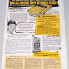 1951 Car Plate Auto Wax Vintage Color Print Ad Baseball Celebrity Ted Williams HOF