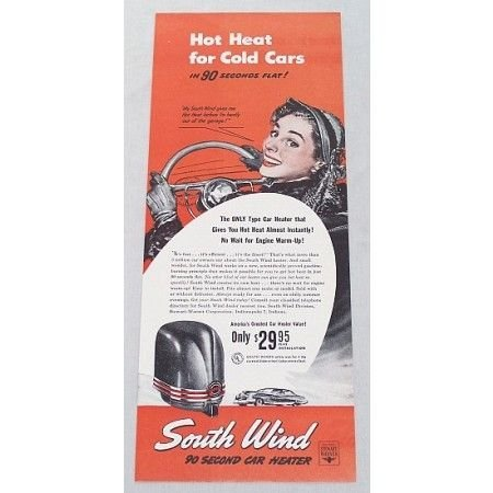 1948 South Wind Car Heater Vintage Color Print Ad - Hot Heat For Cold Cars