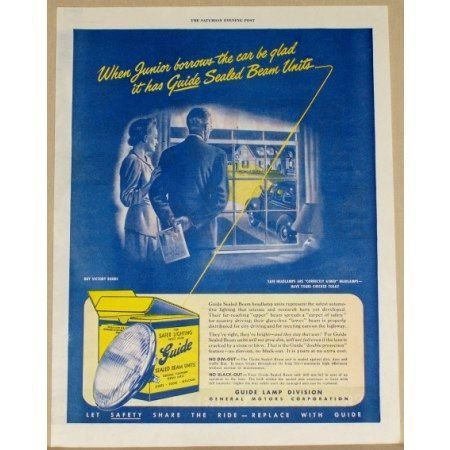 1945 Guide Sealed Beam Units Auto Headlamps Vintage Color Print Ad