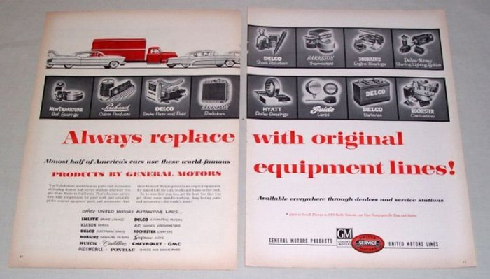 1954 GM United Motors Service Products 2 Page Vintage Print Ad