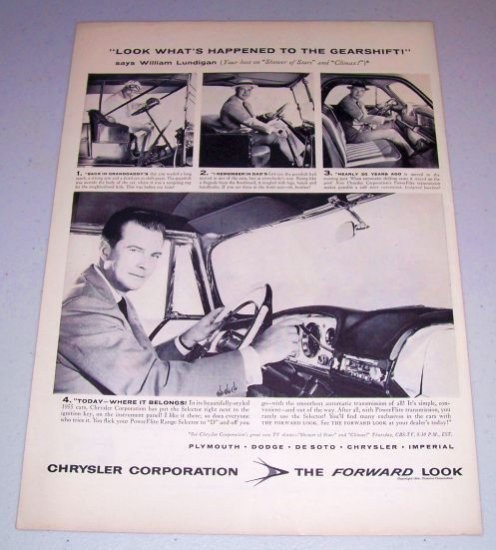 1954 Chrysler Corp. Gearshift Vintage Print Ad Celebrity William Lundigan
