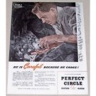 1944 Perfect Circle Piston Rings Vintage Color Print Ad - Because He Cares