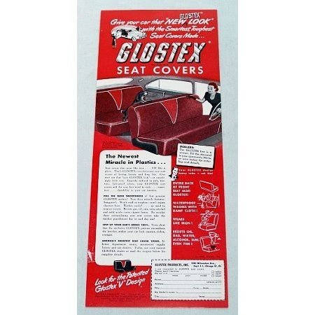 1948 Glostex Automobile Seat Covers Vintage Color Print Ad