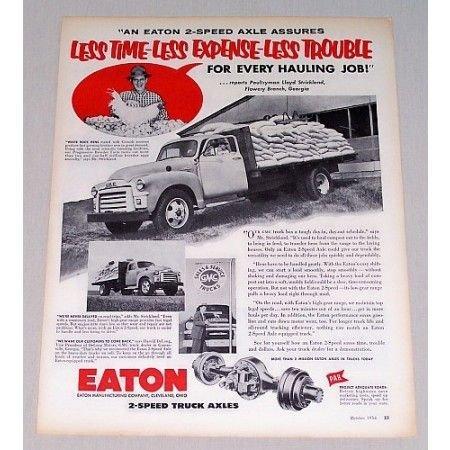 1956 Eaton Truck Axles GMC Flatbed Farm Truck Vintage Print Ad