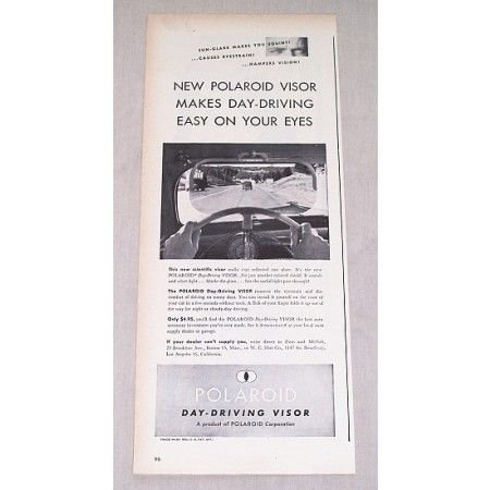 1946 Polaroid Day Driving Visor Vintage Print Ad - Easy On Your Eyes