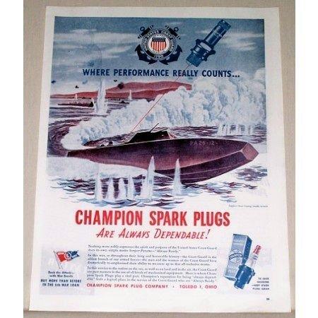 1944 Champion Spark Plugs Wartime WWII Coast Guard B Vintage Color Print Art Ad