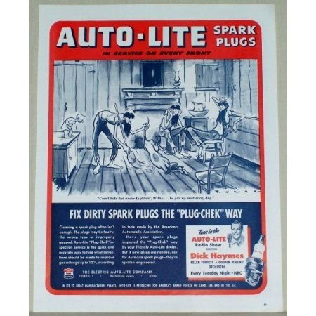 1945 Auto Lite Spark Plugs Vintage Art Color Print Ad - Service On Every Front