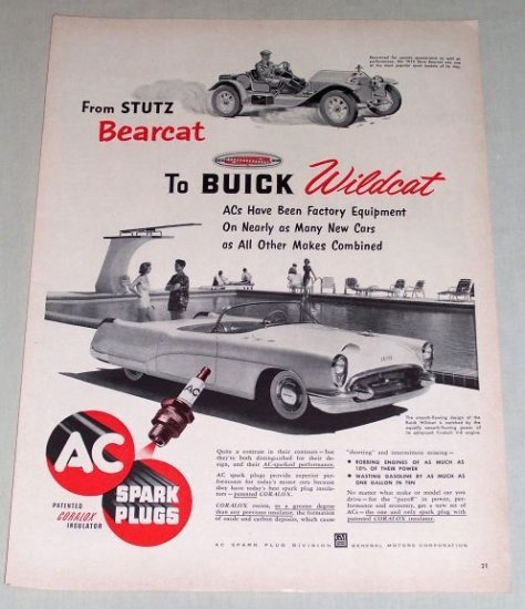 1953 AC Spark Plug 1915 Stutz Bearcat 1953 Buick Wildcat Vintage Print Ad
