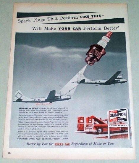 1953 Champion Spark Plugs USAF Inflight Refueling Vintage Color Print Ad