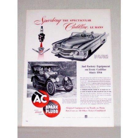 1953 AC Spark Plugs 1914 and 1953 Cadillac Autos Vintage Print Ad