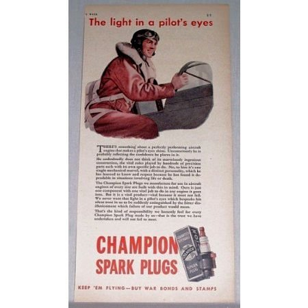 1943 Champion Spark Plugs Wartime Vintage Color Print Ad - Pilot's Eye
