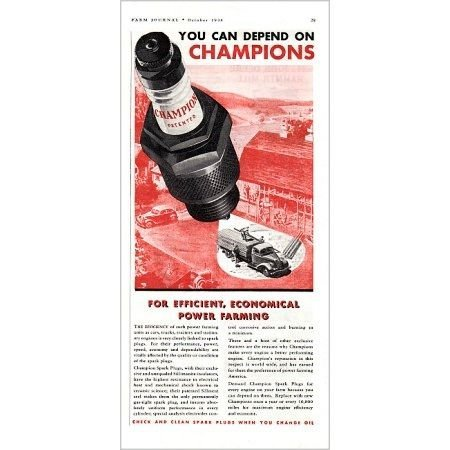 1938 Champion Spark Plugs Vintage Color Print Ad - Power Farming