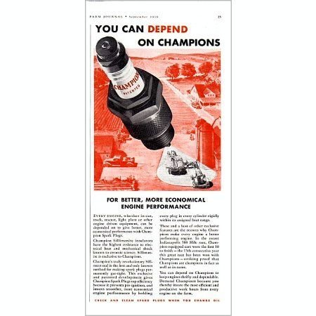 1938 Champion Spark Plugs Vintage Color Print Ad - Better Performance