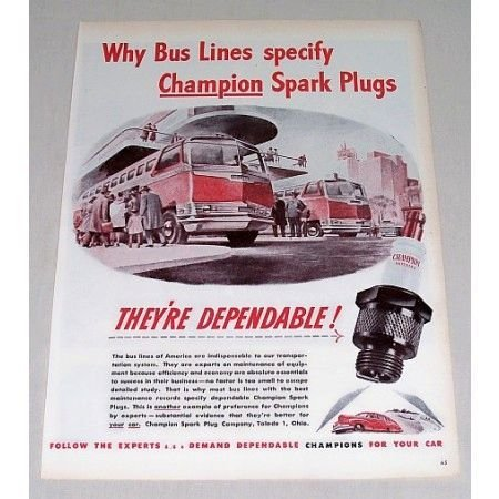 1946 Champion Spark Plugs Vintage Color Print Art Ad - Bus Lines Specify