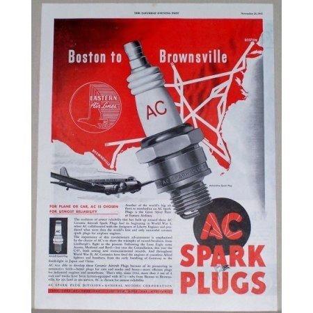 1945 AC Spark Plugs Eastern Airlines Jet Plane Vintage Color Print Ad